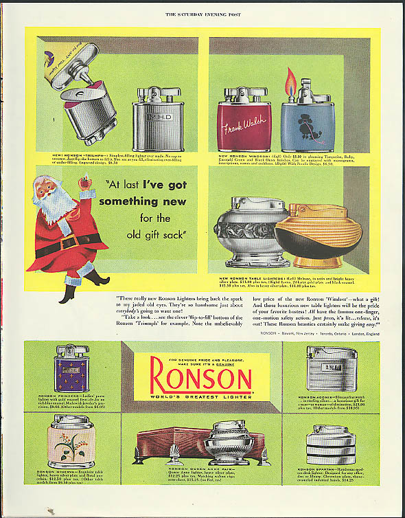 At last I've got something new for the old gift sack Ronson Lighters ad 1953